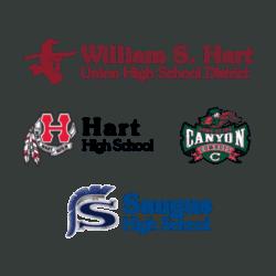 Santa Clarita high school logos (William S. Hart School District, Hart High School, Canyon High School, and Saugus High School)