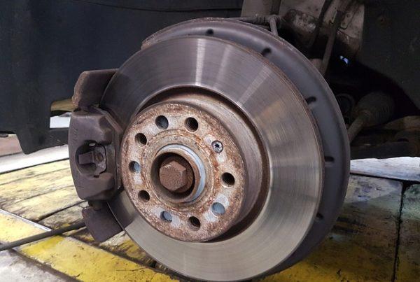 car disc brakes in an auto shop