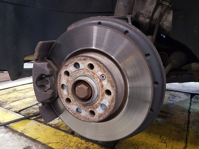 car disc brakes in an auto shop