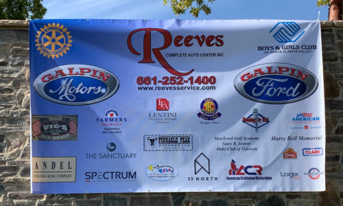Sponsor banner for the 2019 Reeves Complete Auto Center golf tournament
