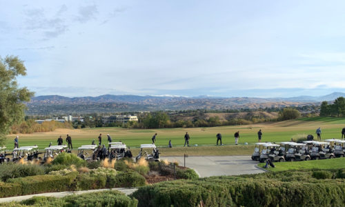 Far shot of a driving range in Santa Clarita, CA at the 2019 Reeves Complete Auto Center golf tournament