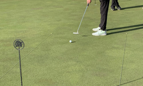 man putting in the 2019 Reeves Complete Auto Center golf tournament