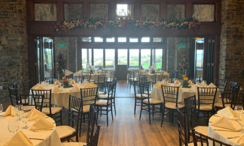 dining room setup of the 2019 Reeves Complete Auto Center golf tournament final dinner